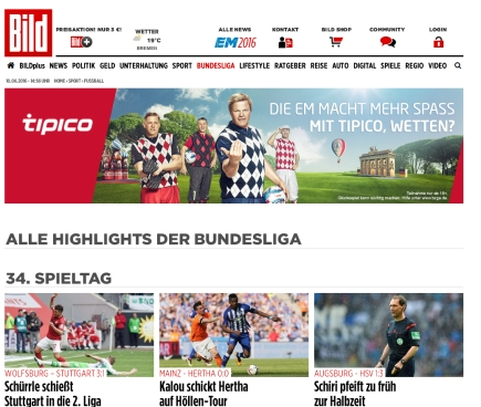 Bild.de Bundesliga Screenshot